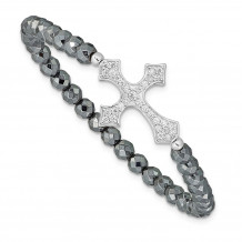 Quality Gold Sterling Silver Rhodium-plated Cross  CZ & Hematite Stretch Bracelet - QG3573