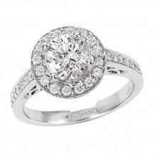 Romance 18k White Gold Halo Semi-Mount Diamond Engagement Ring