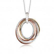 Zeghani 14k Tri-Tone Gold Diamond Pendant